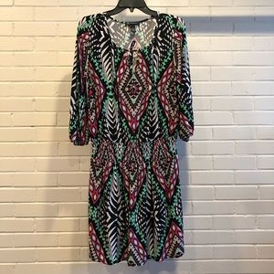 INC International Concepts Geo Print Dress, Medium